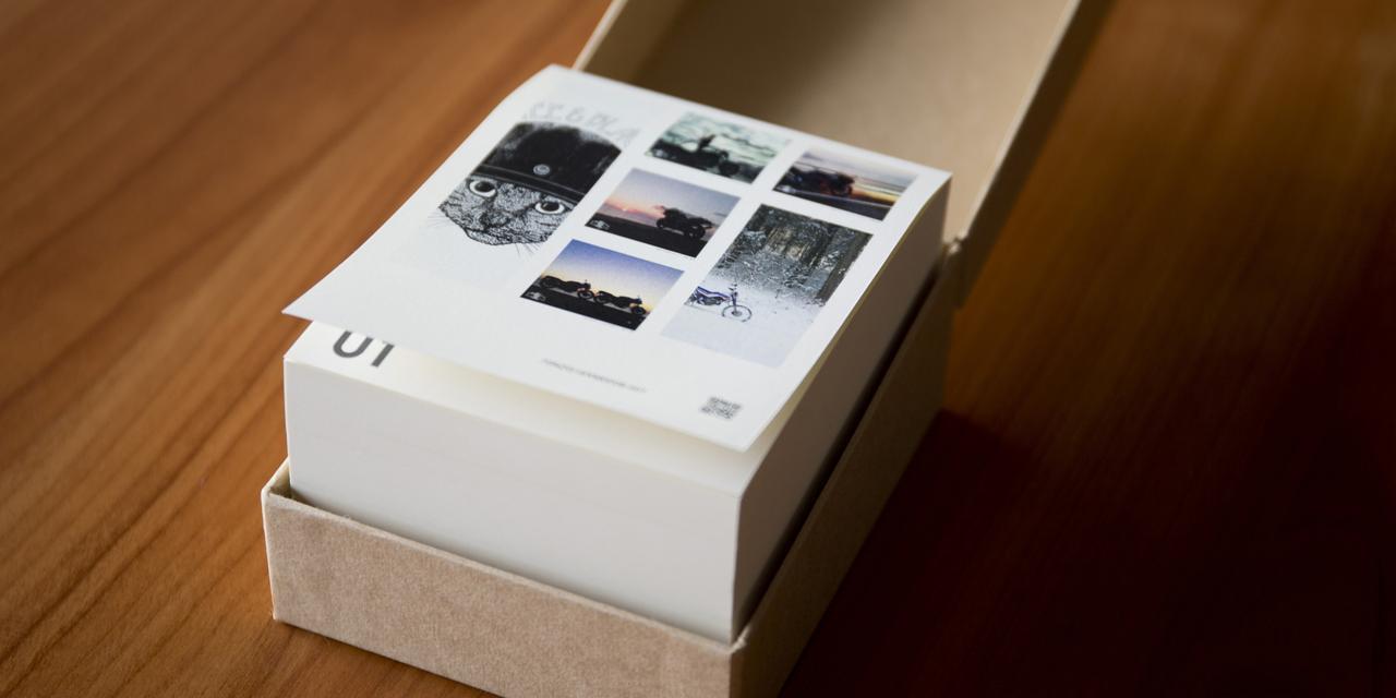画像: R&Cカレンダー~365story~ (予約限定商品) ¥4,800 (税抜) サイズ: 88mm×108mm×56.5mm(本体) 93mm×114mm×61mm(箱) 品質:天糊製本/厚みと風合いのある紙を使用