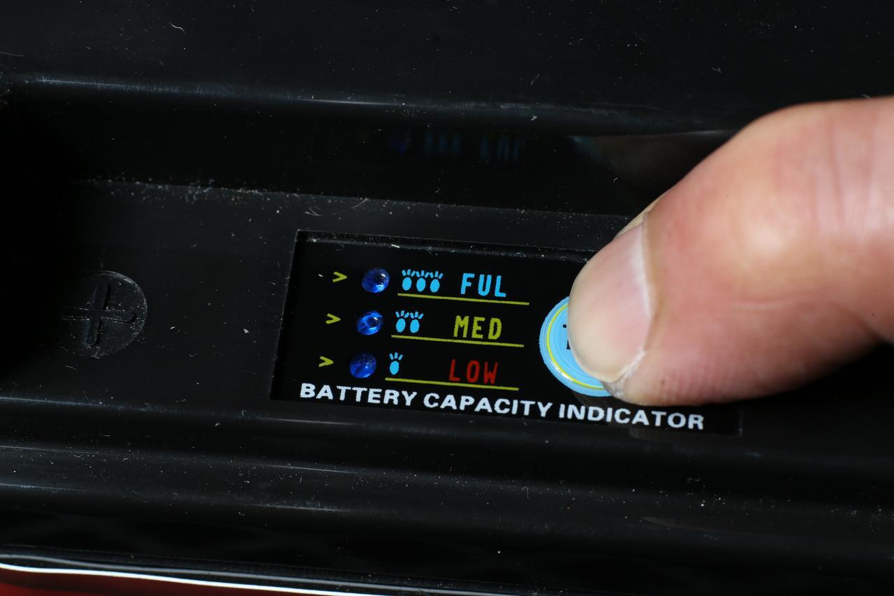 画像: バッテリー上面にはLEDインジケーターがあり、ボタンを押すと状態が表示される。長期間乗らなかった場合は走行前にチェックしておくと安心だ。