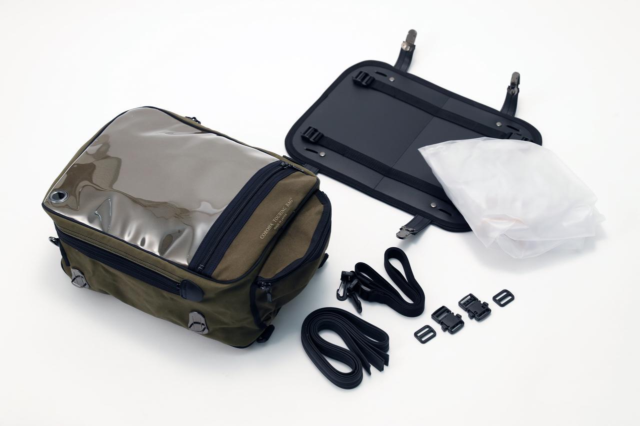 画像: バッグ本体に加え、マウント、ゴムベルト、透明レインカバーが付属している。余談だが、上面のクリアマップケースはスマホのタッチパネルにも対応。
