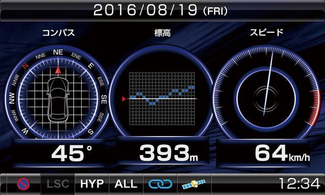 画像: 走行情報は21種類あり、そのうちの2種類または3種類を選んで表示させられる。写真は速度、標高、方位を選んだ状態。