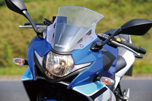 画像: GSX-Rシリーズを想わせるデザインのヘッドライト。ポジションランプには面発光LEDを使用して個性的デザインを実現した。