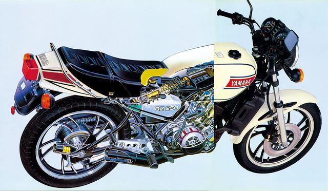 画像: RZ250のリアサスペンションには、モトクロッサーのYZシリーズで先行して採用されていたが、ロードスポーツモデルとしては初のカンチレバータイプのモノクロスサスペンションだ。