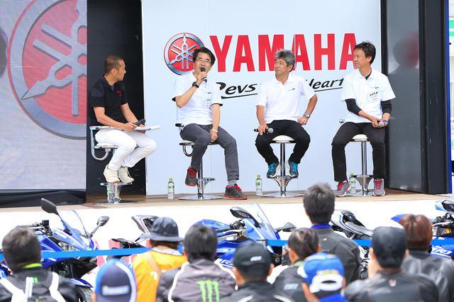画像: Rシリーズの開発陣である、三輪邦彦さん、西田豊士さん、島本 誠さんによるトークショー。司会はライダースクラブの小川勤編集長。