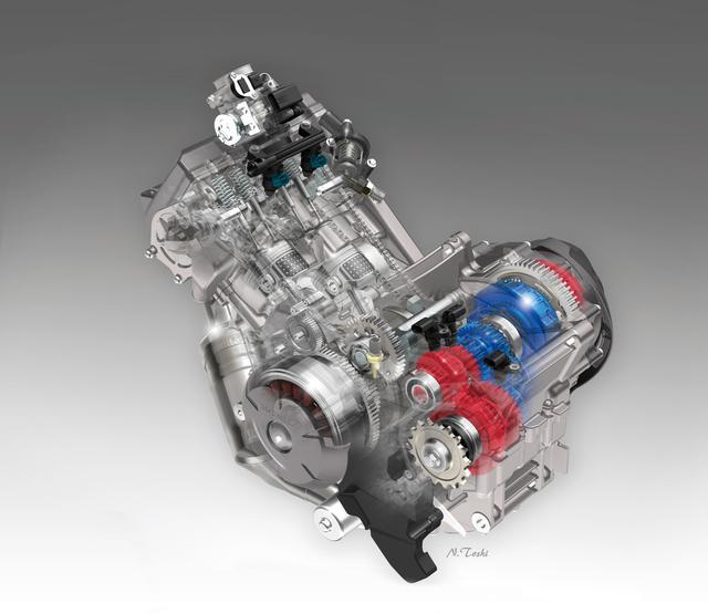 画像: 低・中回転域で力強く扱いやすいことで知られるNC750系用エンジンをベースとした、排気量745㏄の水冷並列ツインを搭載。