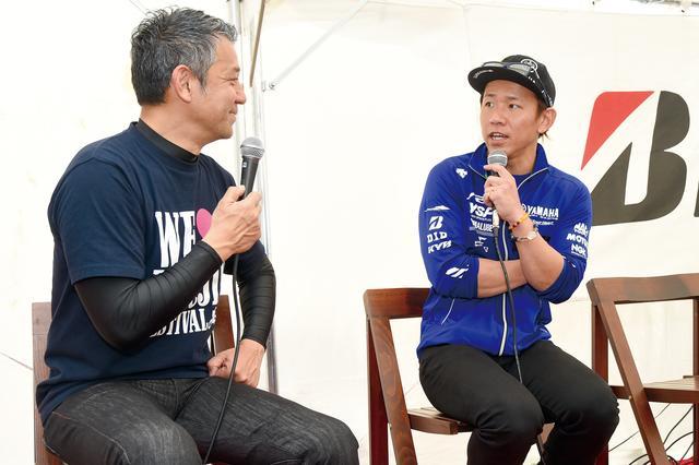 画像: イベントには豪華ゲストも登場。右は全日本ロードレースで活躍する中須賀克行選手、左は宮城 光氏。2人は先導走行にも参加。
