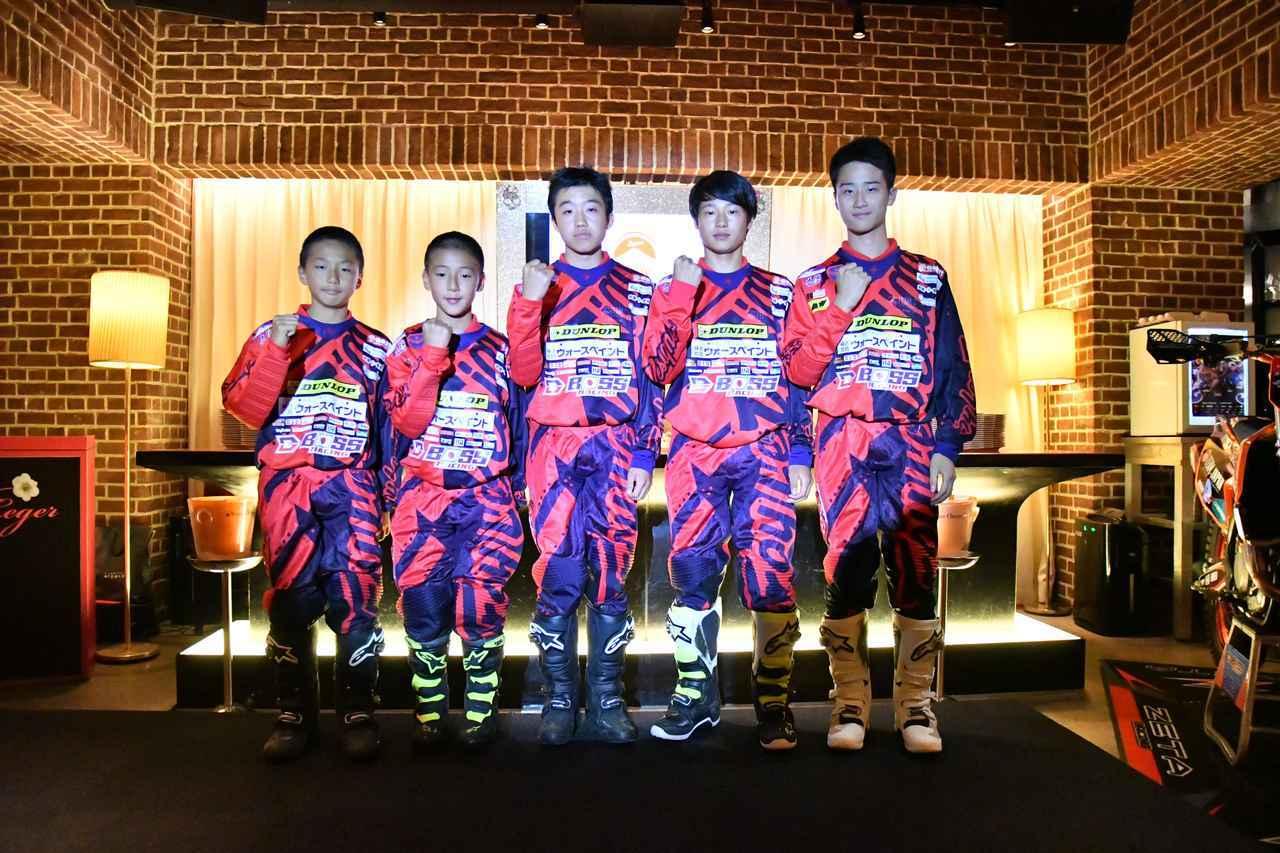 画像: 右から鴨田翔くん(16歳)、内藤龍星くん(16歳)、袴田哲弥くん(14歳)、田中淳也くん(11歳)、坂田大和くん(11歳)です。