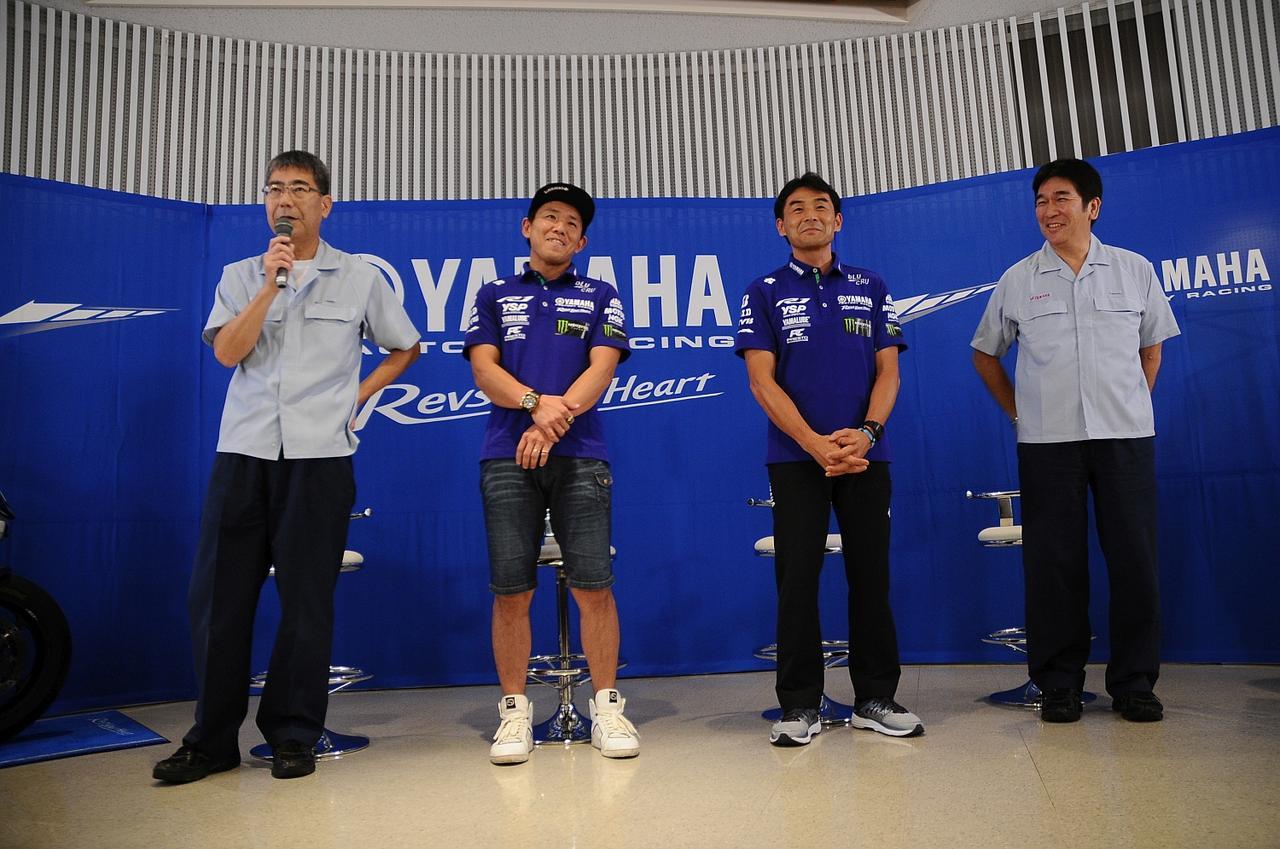 画像: イベントに出席した、左から橘田主査、中須賀克行、吉川監督、辻部長の4人