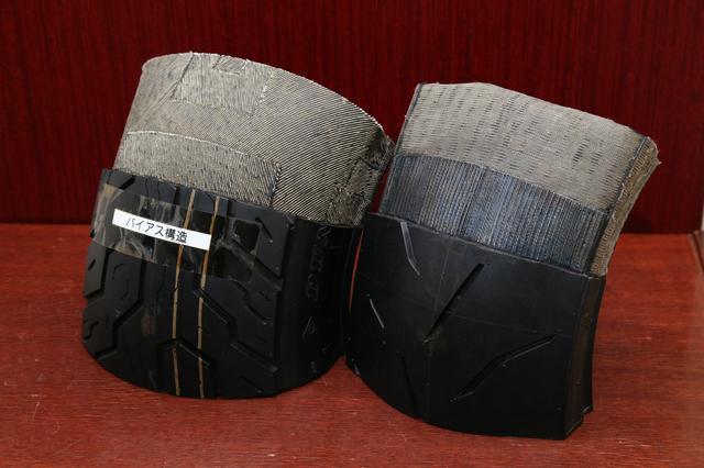 画像: 左がバイアスタイヤ、右がラジアルタイヤ。それぞれの構造説明用カットモデル。
