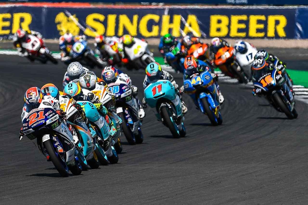 画像: 写真はイギリスGPの決勝 moto3はいつも、予選決勝を問わず、こんなかんじでセッションが進んでます
