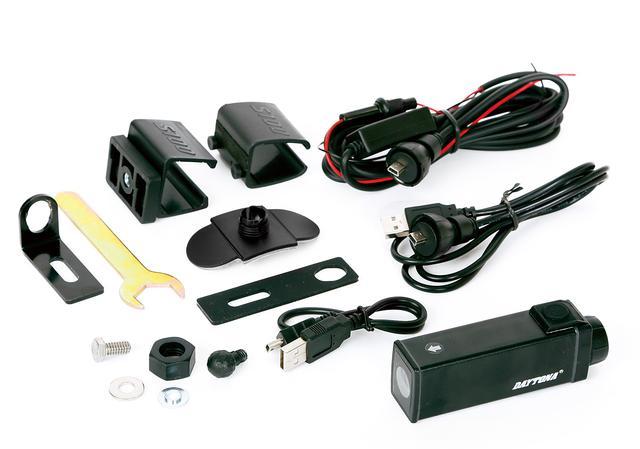 画像: キット内容はカメラ本体のほかに12v電源ケーブル、USBケーブル、マウント類など。オプションとして強度が高く、カメラの向きを細かく調整できるアルミ製マウント(2800円)も用意されている。