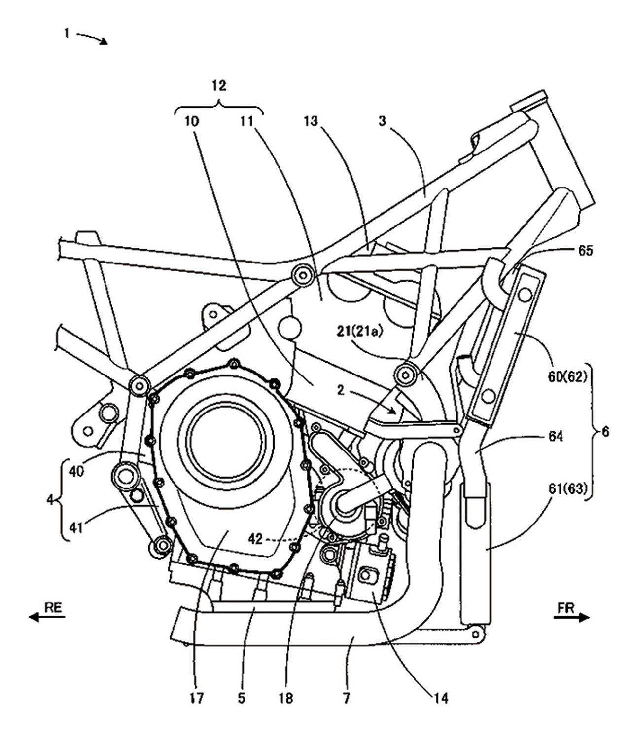 画像: リカージョンではアルミ製のツインチューブフレームを採用していたが、こちらの特許図版ではフレームはスチールパイプのトラスタイプに変更されているのがわかる。