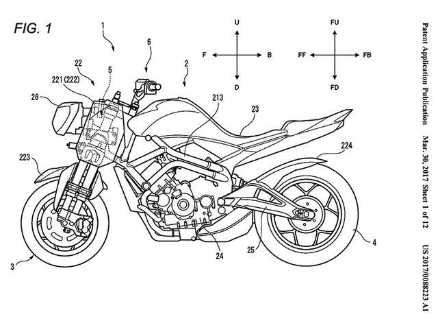 画像: これは欧州で公開された特許の申請図版。カウルを外し、旧MT-09のヘッドライトを装着した「ネイキッドモデル」だ。