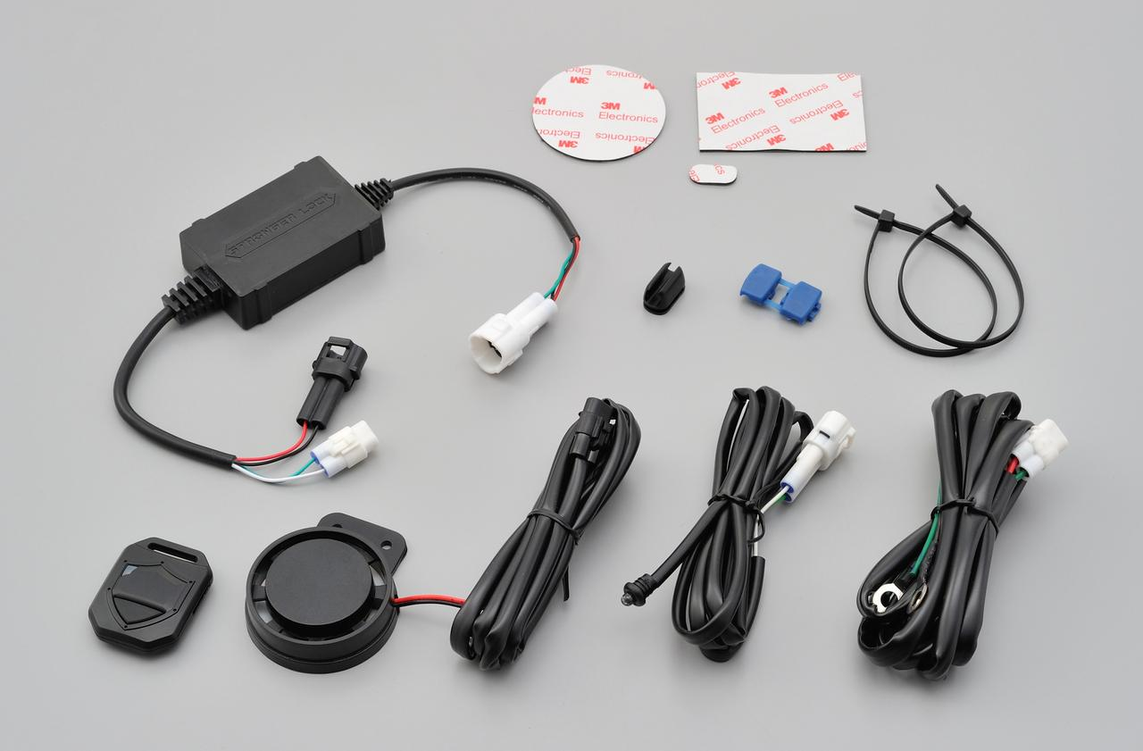 画像: 【セット内容】 アラーム本体×1、リモコン×1、電源ハーネス×1、スピーカーハーネス×1、LEDハーネス×1、ランプホルダー×1、結線コネクター×1、結束バンド×2、両面テープ×1(本体、スピーカー、ランプホルダー)