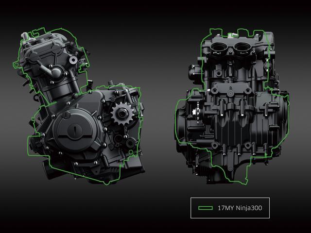 画像: 新設計のエンジンを投入した250と同じく、400のエンジンも一新された。コンパクトな新エンジンの最高出力は従来型の400より1PSアップの45PSで、最大トルクは3.9㎏f-m。250を大きく上回る余裕のパワーを発揮する。写真上の緑色の線は旧型エンジンのサイズを示す。