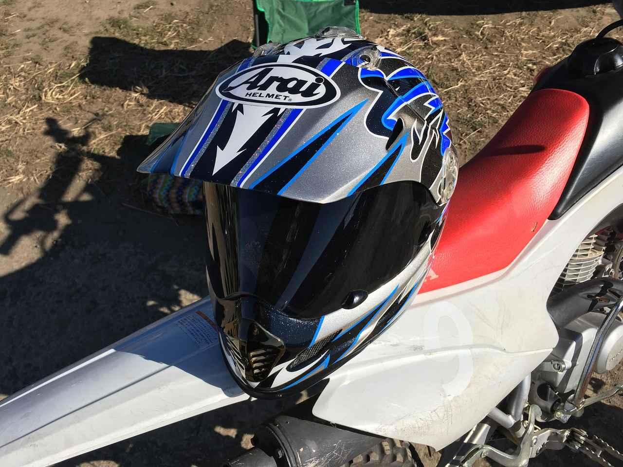 画像: ヘルメットはカナーリ昔のTXモタードTVBを使ってます^^ ゴーグルが苦手なんだよねー