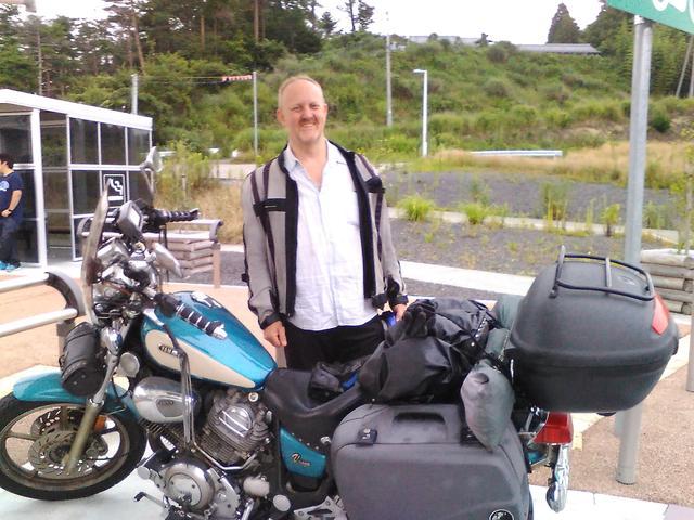 画像: Rayさん。大洗で北海道行きのフェリーを待っていたものの、台風接近の影響で2日待ちぼうけ。陸ルートで青森まで行き、そこから北海道ツーリングする、と強者でした。