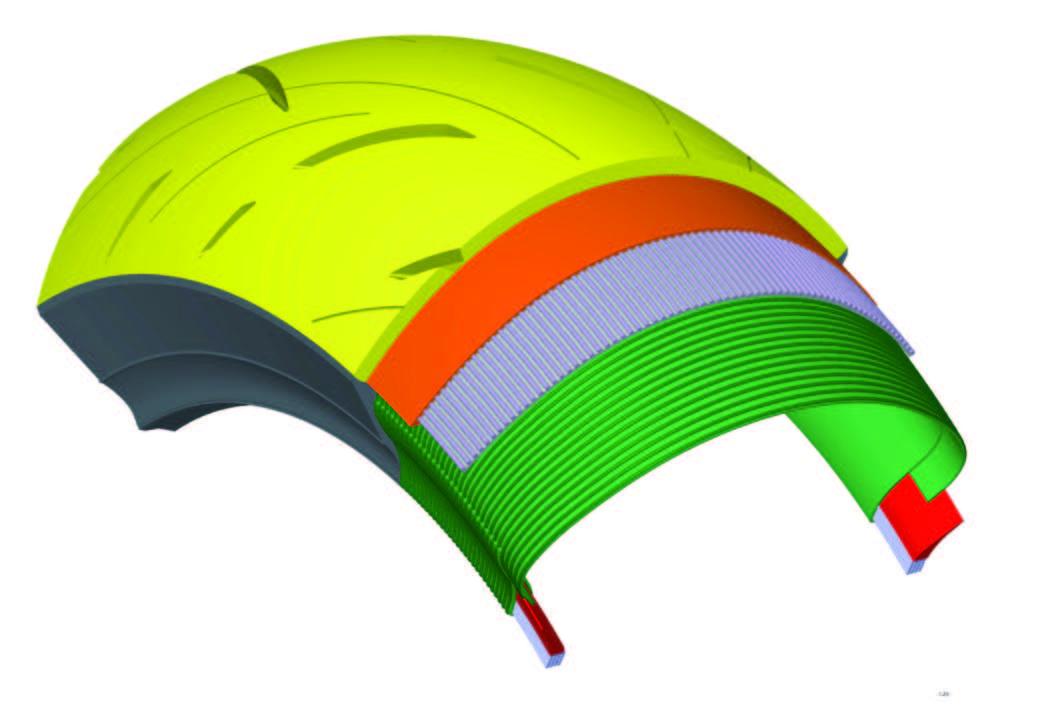 画像: PCL構造の概念図 黄色い表面部分は、接触グリップ(ゴムが路面と密着することで起きるグリップ)の向上を目指した「トレッド表層コンパウンド」、オレンジ色の部分は発熱グリップ(ゴムが路面からの力で変形して熱を発して起きるグリップ)の向上を目指した「トレッド深層コンパウンド」。この2種類のコンパウンドによってグリップを最大限に発揮しながら、摩耗による性能低下を抑制するのだ。
