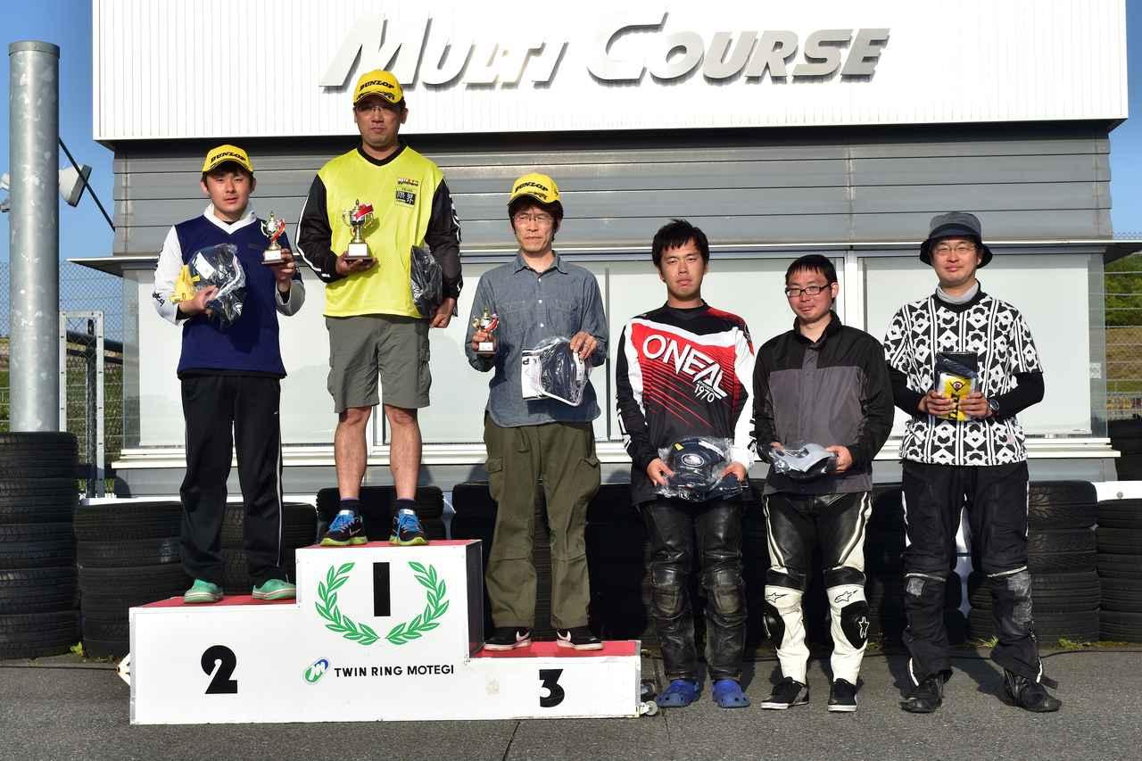 画像: NO級表彰台 1位・岡田選手、2位・秋山選手、3位・君嶋選手、4位・木下選手、5位・山戸選手、6位・蔵島選手