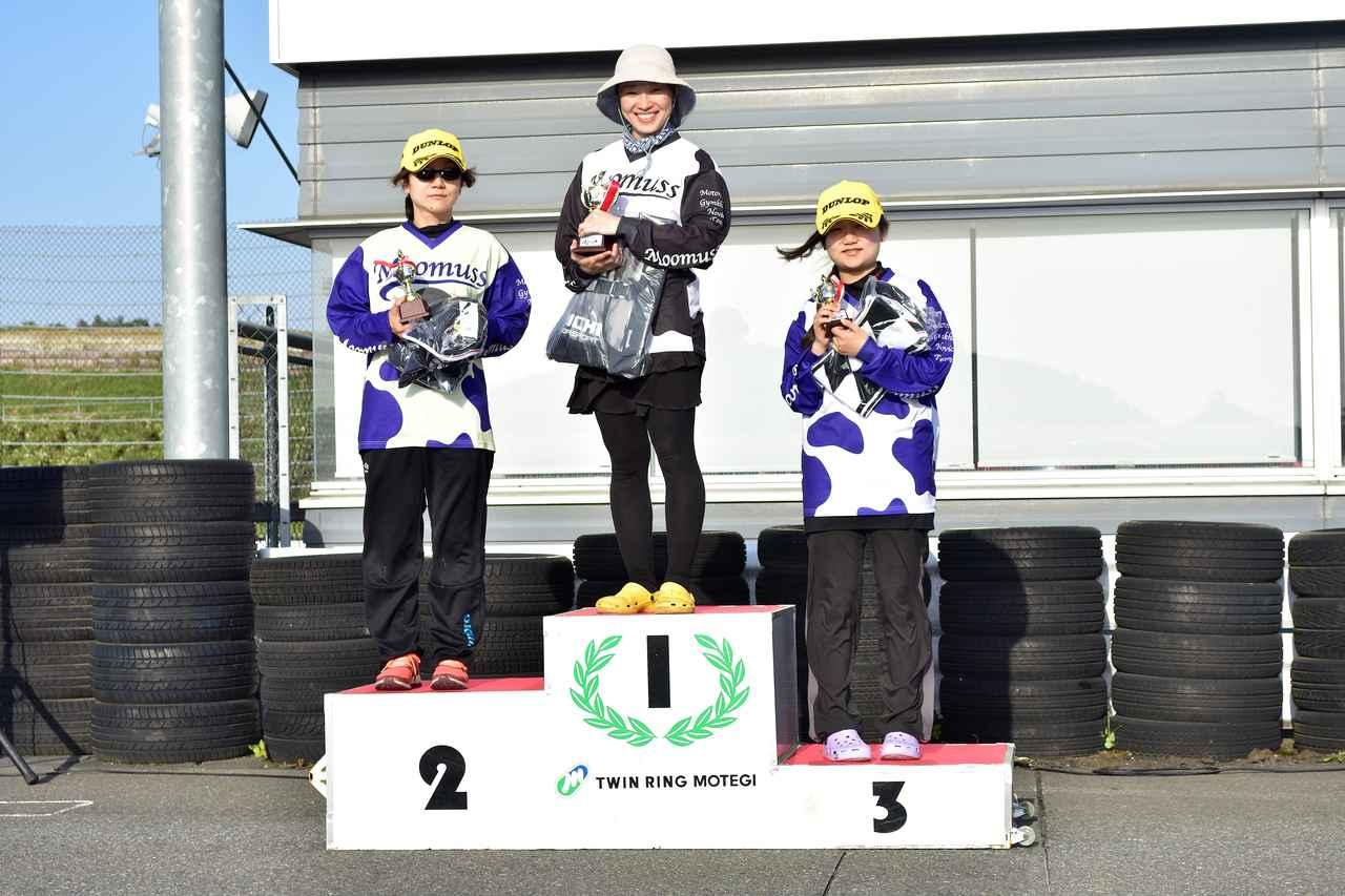 画像: NL級表彰台 1位・寺崎選手、2位・新田るみ子選手、3位・新田涼乃選手