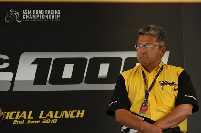 画像: ダンロップを代表して会見に出席した松村貞彦さん 「96年以来、ダンロップはずっとアジア選手権をサポートしてきました。引き続きASB1000も責任を持ってサポートします」
