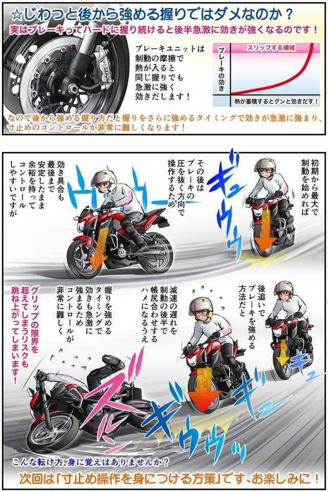 画像4: Motoジム! おまけのコーナー (急制動におけるブレーキの寸止め操作!その1)  作・ばどみゅーみん