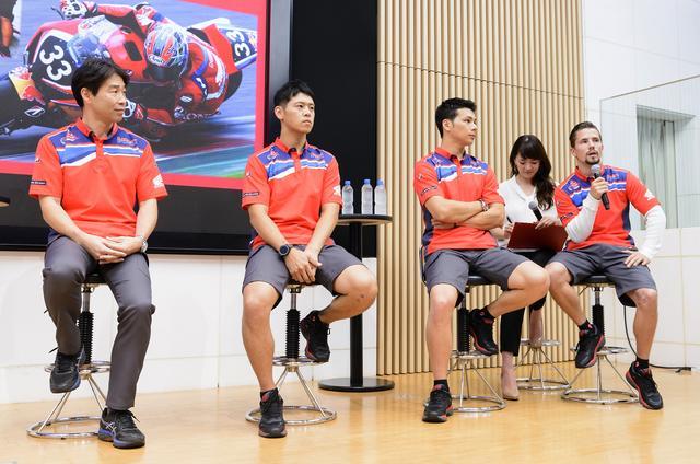 画像: Red Bull Honda with 日本郵便 右からジェイコブセン、中上、高橋、桒田レース室室長 宇川監督は所要のため会見を欠席しました