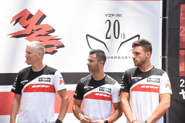 画像: TSRホンダを世界耐久ランキング10ポイント差で追うGMT94 左からチェカ、ディ・メリオ、カネパ