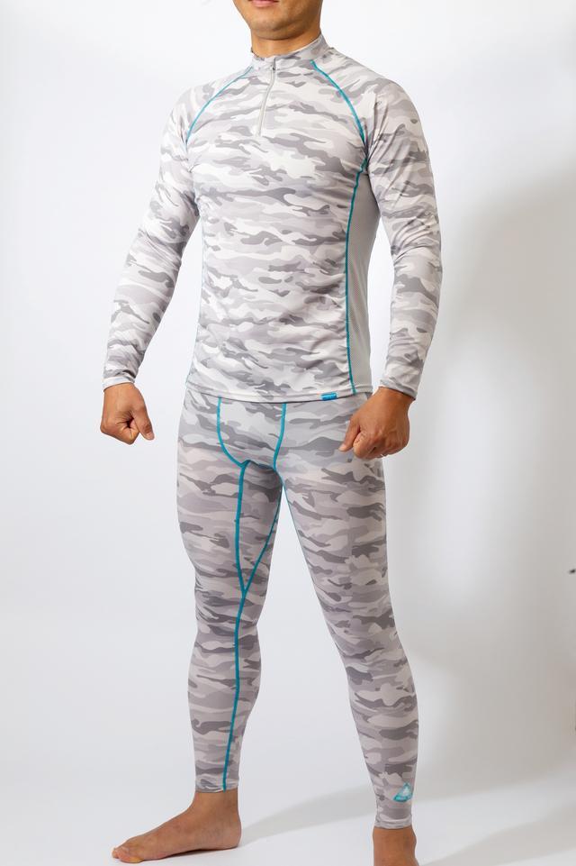 画像: お勧めは長袖ZIPシャツとインナーパンツ。袖丈も裾丈も長めだし、縦横に伸縮する生地で適度にフィットしてズリ上がりも起きない。