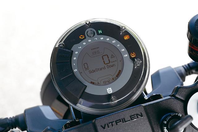 画像: ユニークな円形メーター。タコメーターは上部に配されたラウンド上のバーグラフ式で、中央には速度計やギア表示も。