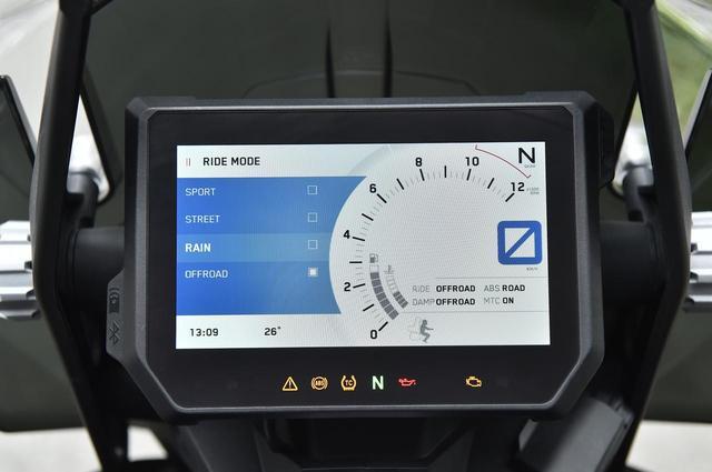画像: メーターはカラーの6.5インチTFTディスプレイ。周りが暗くなると自動でバックが黒くなり明るさを調整。始動はキーレスエントリーで、ハンドルロックは右手側のイグニッションオン・オフスイッチを長押しでできる。