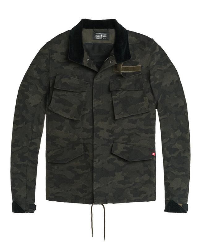 画像: Camo 定価:55,000円(税込)ミリタリー調のユニセックスジャケット。脱着式肘・肩プロテクター付属。 サイズ:XS、S、M