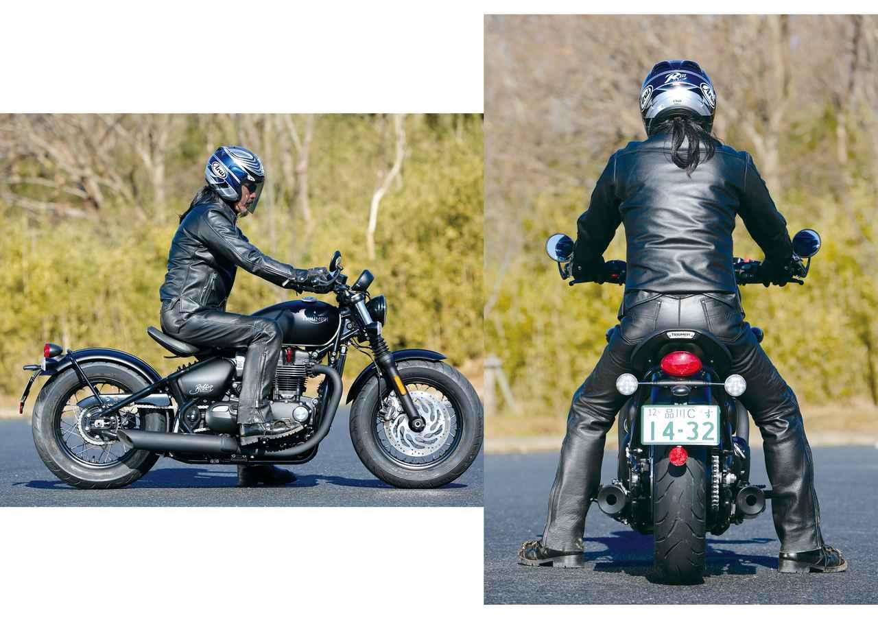 画像: 上体が直立しているように見えるが、感覚的には背筋を伸ばしてそのまま少し前傾させた感じのポジション。リラックスもできるし、ハンドルを力で抑えることもできる。足着きも良好で、体格を選ばず、バイクを支えやすいし、取り回しも楽だ。身長:176㎝・体重:68㎏