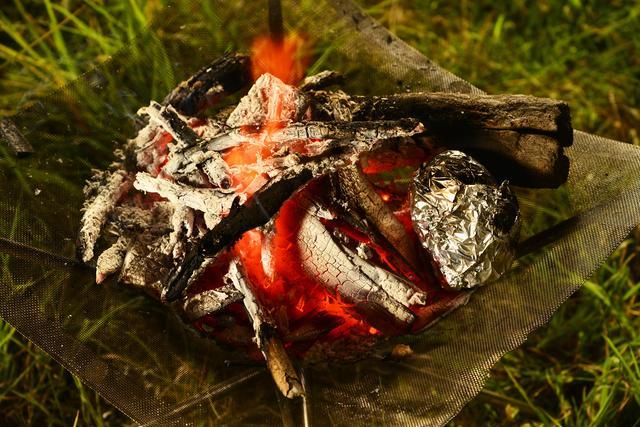 画像: アルミホイルの包み焼きは、焚き火の中に放り込むというより、燠(おき)の熱で焼く感じ。トングでひっくり返しながら、じっくり焼くとうまくいきます。