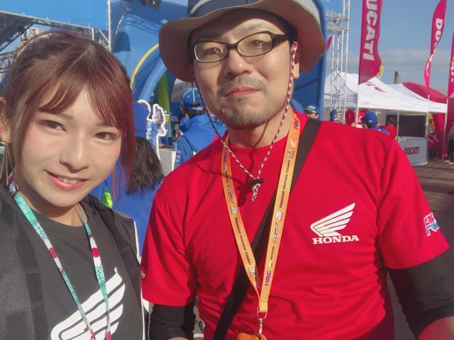 画像: お名前❥けんぼーさん お住い❥長野県 好きな選手❥ペドロサ選手 HONDAカラーのTシャツとマルケスさんの番号のストラップを首から下げていました♫