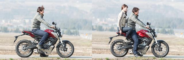画像: 長身の伊藤さんが乗っても窮屈に感じることがないくらい、CB125Rのライディングポジションにはゆとりがある。シートは跨った瞬間にシート高の高さを意識させるが、車重が軽いために取り回しに不安を覚える人は少ないだろう。テーパータイプのハンドルバーは幅が広く、オフロードバイク的でもある。タンデムシートはあまり広くないので、二人乗りについてはあくまでエマジェンシー的な使い方と考えるのが、適当なのかもしれない。ライダー身長:179㎝、パッセンジャー身長:172cm