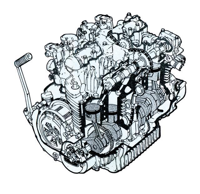 画像: 4気筒の先行モデル、CBがSOHCなのに対し、ロッカーアームを介さない直押しバルブのDOHCを採用。当初は750㏄として開発された。