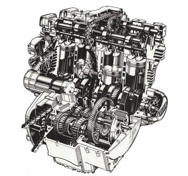 画像: GS1000の2バルブDOHCエンジンを4バルブ1100㏄とした新TSCCエンジンはKATANA専用に小変更も受けていた。