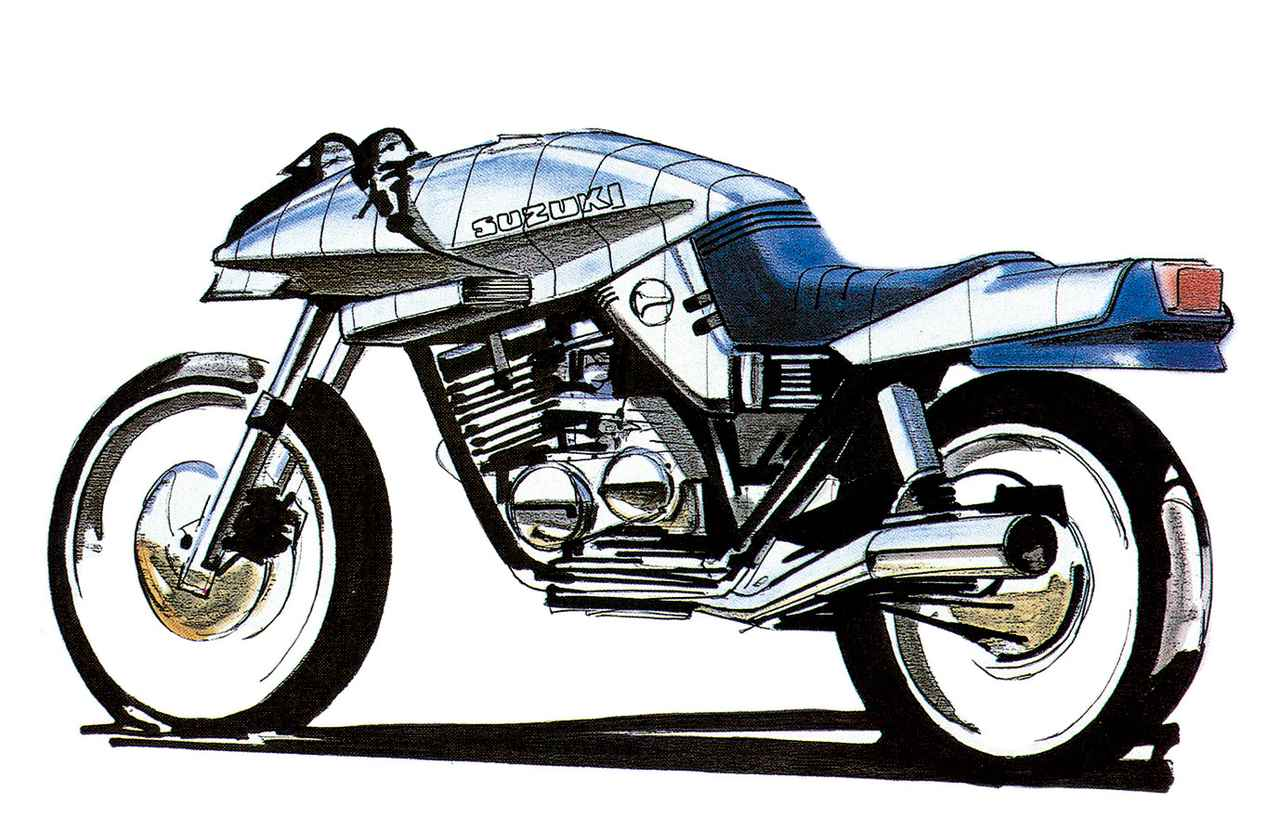 画像: この一枚のスケッチ画からカタナの物語がスタートする。カタナを生んだのは、1980年当時、スズキの欧州販売担当であった谷雅雄さんの強い意志と、多くの市販車・レーサーを開発してきた横内悦夫さんの技術者魂だった。