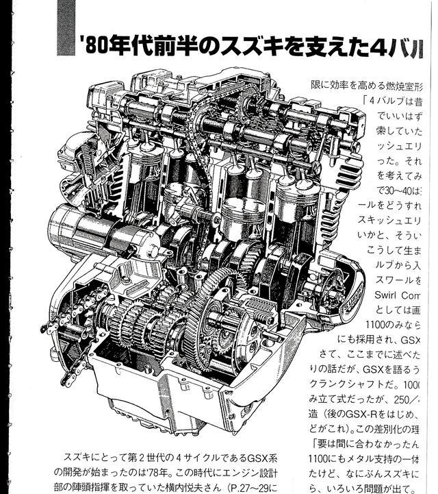 画像: GSX1100Eをベースとした空冷4ストロークDOHC4バルブエンジン。燃焼効率を向上させるTSCCヘッドを採用し、カタナ用にはクランク系を再設計し、約10%出力アップ。