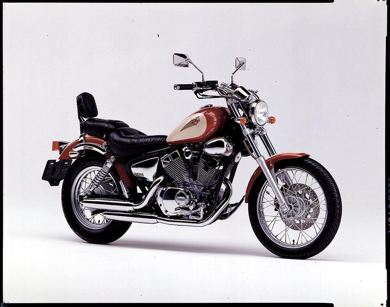 画像: 1994/2 YAMAHA XV250ビラーゴ 88年に初登場したビラーゴ250は94年モデルで専用カラー、サイドカバーメッキなどを施したSをラインナップ。カスタム派に人気のニーハンアメリカン。
