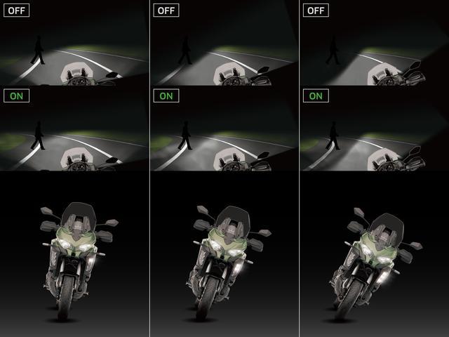 画像: 車体の傾きに応じてライダーの視野方向を照らすことができ、夜間のコーナリングでの視認性をサポートしてくれます。