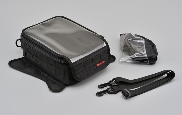 画像: タンクバッグ本体に加え、セーフティベルト、レインカバーが標準装備。