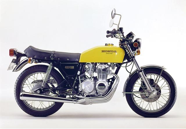 画像: HONDA CB400Four I/II(1976/3) 中型免許に合わせた398cc版、パワーはダウンしたが実際の走りに変わりはない。ハンドルがコンチタイプのIとセミアップタイプのIIの2タイプあり、408cc版も併売。 ●空冷4ストOHC2バルブ並列4気筒●398cc●36PS/8500rpm●3.1kg-m/7500rpm●184kg●3.00-18・3.50-18●32万7000円