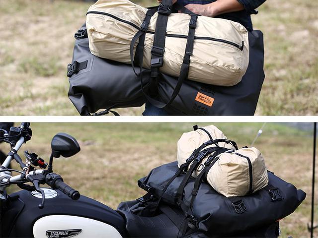 画像: メインショルダーベルトはループで連結させることで、膨張したバッグを締め上げるコンプレッションベルトや、他の荷物と一緒にまとめるベルトとしても活用できます。