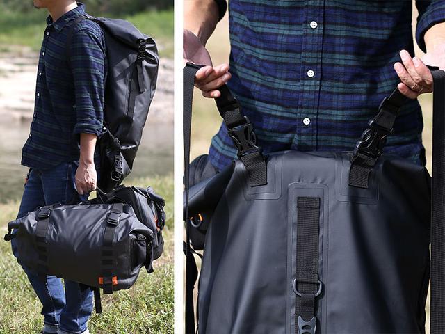 画像: バッグ側面のDカンにベルトを取り付けメインバックルに接続すれば、リュックスタイルで荷物の運搬が可能。不要時は取り外しができます。