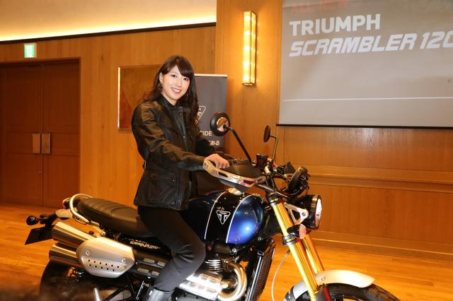 画像: 発表会にはオートバイ女子部のメンバーでもある大関さおりさんがモデルとして登場しました!
