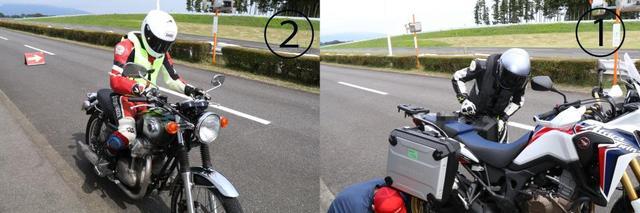 画像: ①アフリカツインはパニアケースなしとフル装備(写真)でテストをおこなっている。撮影時は発売前のタイヤが装着されていた。②テスト中すべてのライダーはHit-airベストを着用。耐久テストは外部の協力ライダーにお願いしており、黄色のHit-airベストを着用している。