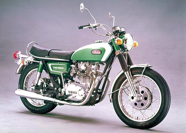 画像: XS-1 650 1970年 [エンジン形式]空冷4ストOHC2バルブ並列2気筒 [排気量]653㏄ [最高出力]53PS/7200rpm [最大トルク]5.5㎏-m/6800rpm [車両重量]191㎏ [燃料タンク容量]15L [タイヤサイズ 前・後]3.50-19・4.00-18 [発売当時価格]33万8000円