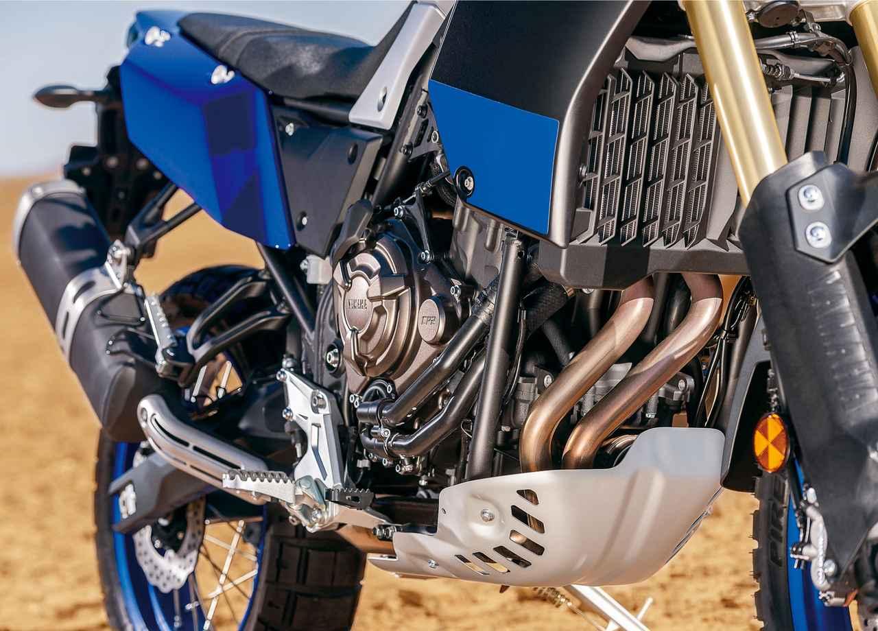 画像: エキゾースト、オイルパン、オイルフィルターをガードするスキットプレートは、フレームに取り付けることにこだわったアイテム。