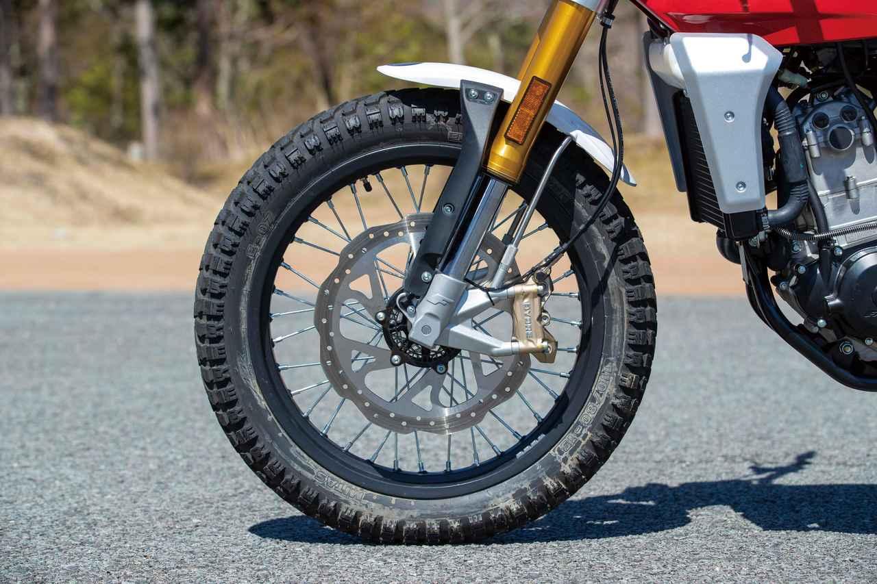 画像: φ41㎜の倒立フォークはストロークを150㎜確保。ブレーキはペータルディスクを採用。